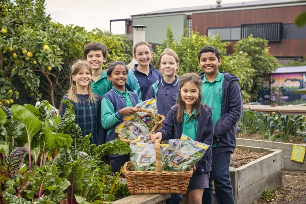 Group of students in blue and green uniforms around two baskets of bags of leafy green vegetables, among a green garden.